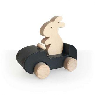 Auto mit Hase aus Holz - schwarz