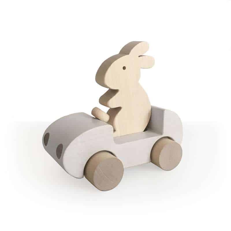 Auto mit Hase aus Holz - weiss