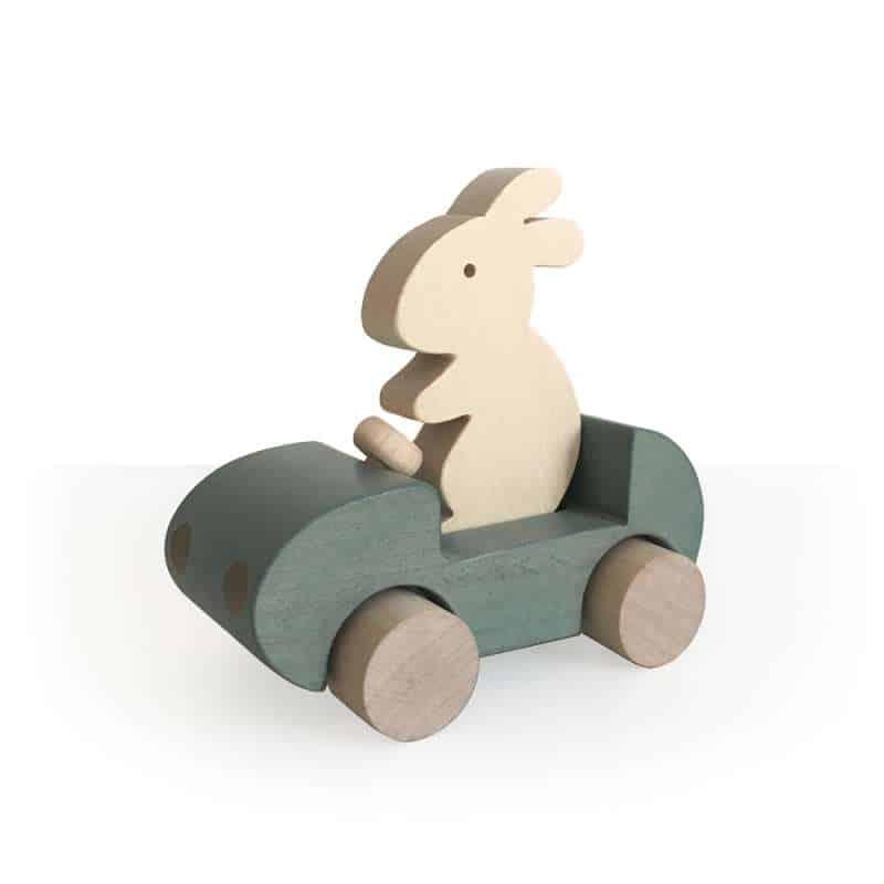 Auto mit Hase aus Holz -garu