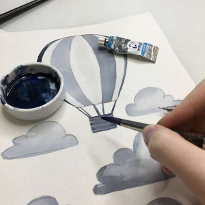 Aquarell Airballoon Wandsticker - grau