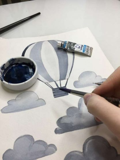 Aquarell Airballoon Wandsticker - grau