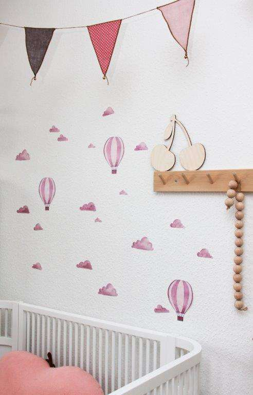 Aquarell Airballoon Wandsticker - rose
