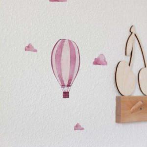 Aquarell Airballoon Wandsticker - rose