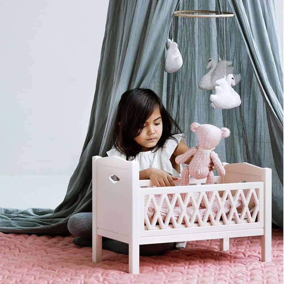 Cam Cam Puppenbett aus Holz - Puder rosa