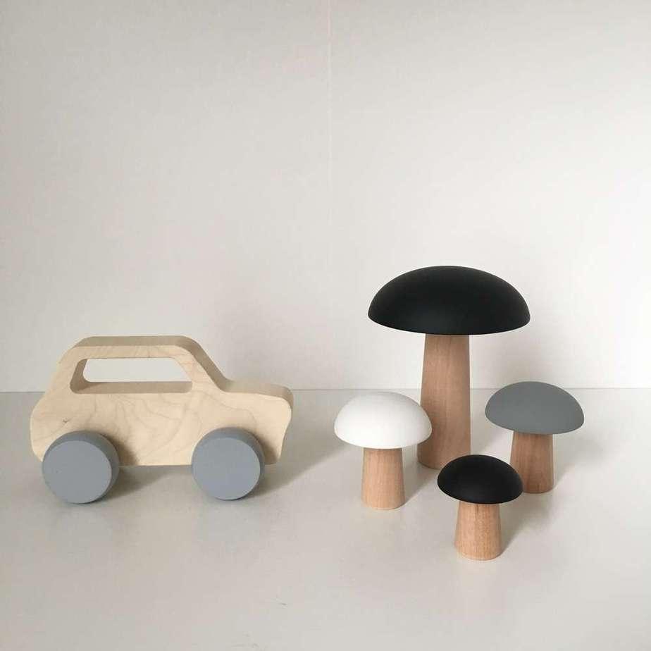Briki Vroom Vroom - Pilze aus Holz - Grau/Schwarz
