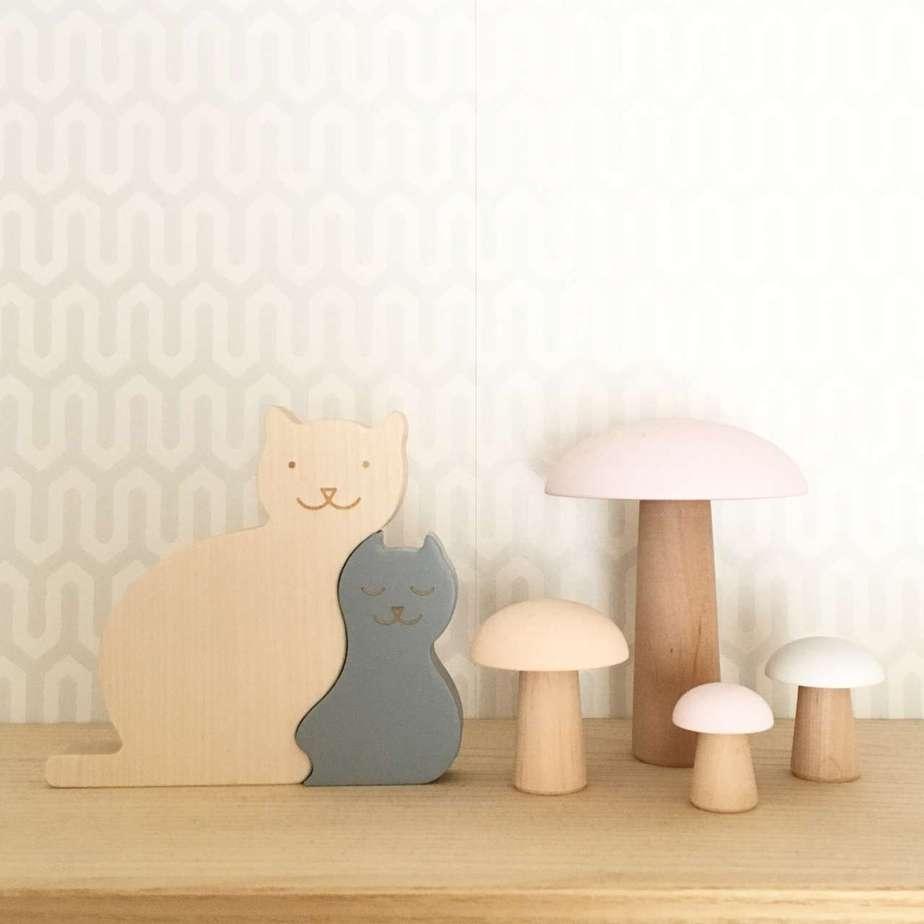 Briki Vroom Vroom - Pilze aus Holz - Rosa