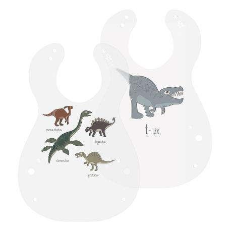 Kunststoff Lätzchen, 2er set, Dino.