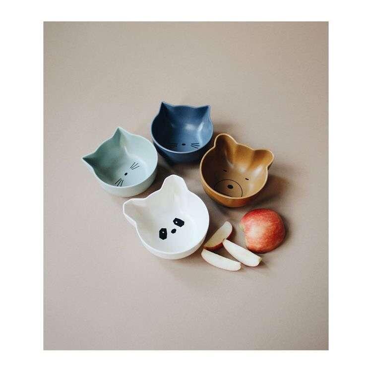 Liewood Schale aus Bambus 4er-Set-Blau