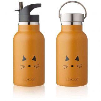 Liewood Anker Trinkflasche/Thermosflasche Katze Senfgelb