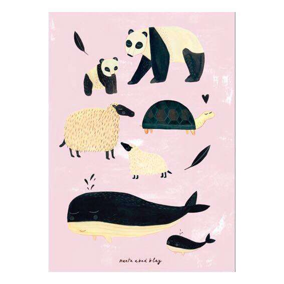 Poster Tiere rosa